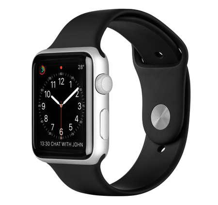 Varna, Bulgarije - 16 oktober 2015: Apple Watch Sport 42mm Zilver aluminium behuizing met Zwarte Sport Band met de klok op het display. Zijaanzicht studio-opname volledig in focus. Geïsoleerd op een witte achtergrond. Redactioneel