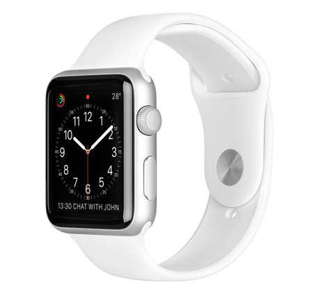 manzana: Varna, Bulgaria - 16 de octubre de 2015: Apple Seguir 42mm Deporte caja de aluminio de plata con la Banda Blanca del deporte con la cara de reloj en la pantalla. opini�n del estudio Lado plano totalmente en foco. Aislado en el fondo blanco.