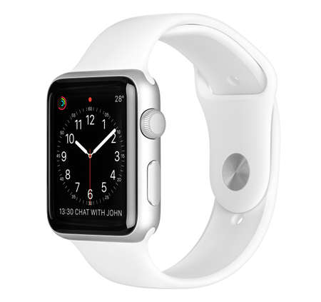 focus shot: Varna, Bulgaria - October 16, 2015: Apple Watch Sport 42mm Silver Aluminum Case with White Sport Band with clock face on the display. Side view studio shot fully in focus. Isolated on white background. Editorial