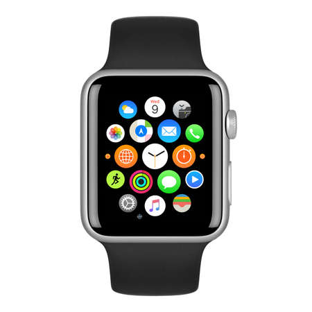 apple computers: Varna, Bulgaria - October 15, 2015: Apple Watch Sport 42mm Silver Aluminum Case with Black Sport Band with homescreen on the display. Front view close up studio shot. Isolated on white background.