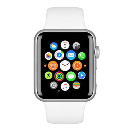 Varna, Bulgaria - October 15, 2015: Apple Watch Sport 42mm Silver Aluminum Case with White Sport Band with homescreen on the display. Front view close up studio shot. Isolated on white background. Editöryel