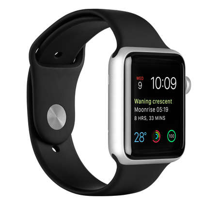 Varna, Bulgaria - October 16, 2015: Apple Watch Sport 42mm Silver Aluminum Case with Black Sport Band with modular clock face on the display. Left side view fully in focus. Isolated on white background.