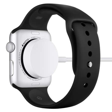 inductive: Varna, Bulgaria - October 16, 2015: Charging of Apple Watch Sport 42mm Silver Aluminum Case with Black Sport Band. Back view fully in focus. Isolated on white background.
