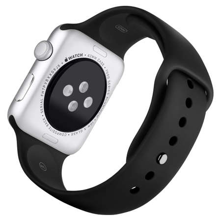 Varna, Bulgaria - October 16, 2015: Apple Watch Sport 42mm Silver Aluminum Case with Black Sport Band. Back view fully in focus. Isolated on white background.