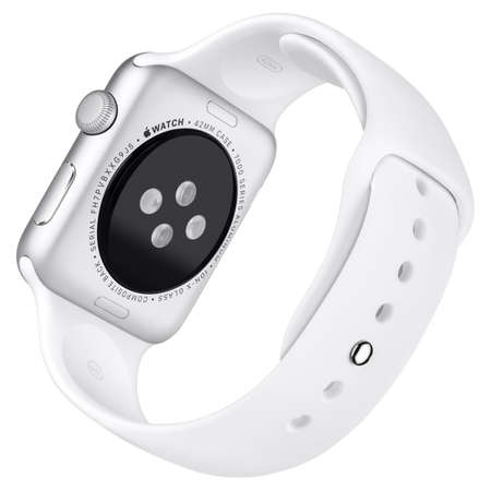 Varna, Bulgaria - October 16, 2015: Apple Watch Sport 42mm Silver Aluminum Case with White Sport Band. Back view fully in focus. Isolated on white background.