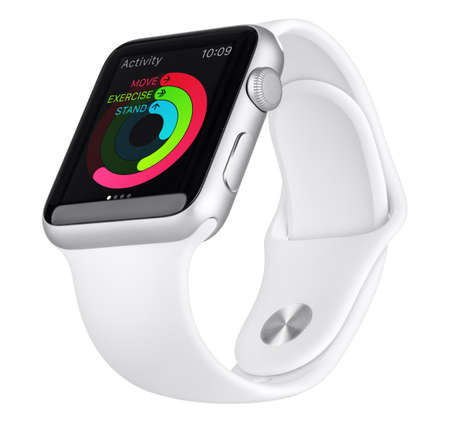 apple computer: Varna, Bulgaria - October 18, 2015: Apple Watch Sport 42mm Silver Aluminum Case with White Sport Band with activity app on the display. Bottom up view fully in focus. Isolated on white background.