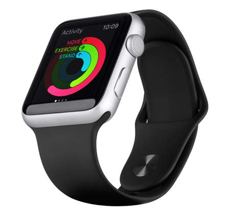computer accessory: Varna, Bulgaria - October 18, 2015: Apple Watch Sport 42mm Silver Aluminum Case with Black Sport Band with activity app on the display. Bottom up view fully in focus. Isolated on white background.