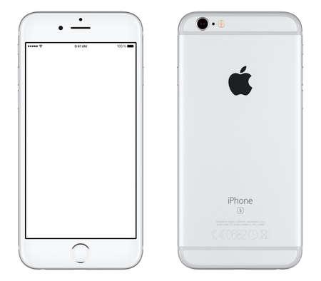 espalda: Varna, Bulgaria - 24 octubre, 2015: Vista frontal de plata del iPhone de Apple 6S maqueta con pantalla en blanco y la parte trasera con el logotipo de Apple Inc. Aislado en blanco.