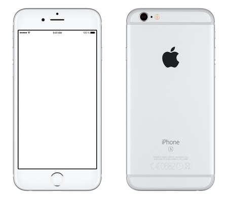 cellphone: Varna, Bulgaria - October 24, 2015: Front view of Silver Apple iPhone 6S mockup with white screen and back side with Apple Inc logo. Isolated on white.