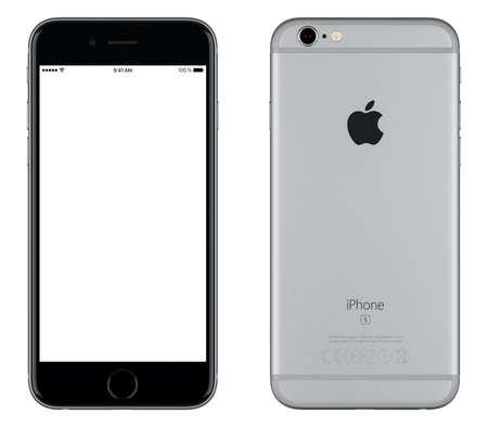 espalda: Varna, Bulgaria - 24 octubre, 2015: Vista frontal del espacio Gray iPhone de Apple 6S maqueta con pantalla en blanco y la parte trasera con el logotipo de Apple Inc. Aislado en blanco.