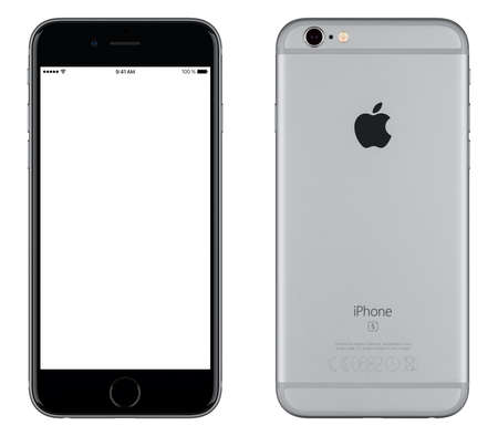 gray: Varna, Bulgaria - October 24, 2015: Front view of Space Gray Apple iPhone 6S mockup with white screen and back side with Apple Inc logo. Isolated on white. Editorial