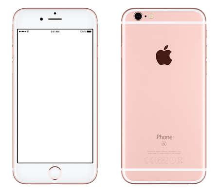Varna, Bulgaria - 24 octubre, 2015: Vista frontal de la Rosa de Oro de Apple iPhone 6S maqueta con pantalla en blanco y la parte trasera con el logotipo de Apple Inc. Aislado en blanco. Editorial