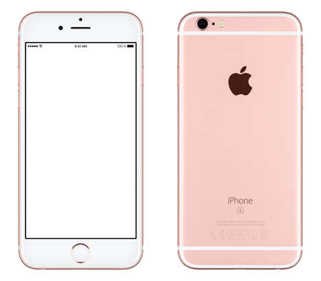 Varna, Bulgaria - October 24, 2015: Front view of Rose Gold Apple iPhone 6S mockup with white screen and back side with Apple Inc logo. Isolated on white.