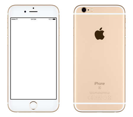 Varna, Bulgarije - 24 oktober 2015: Front view of Gold Apple iPhone 6S mockup met wit scherm en achterzijde met Apple Inc logo. Geïsoleerd op wit.