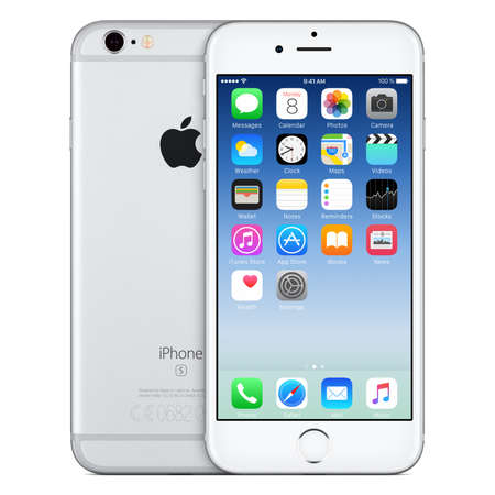 apple computers: Varna, Bulgaria - October 24, 2015: Front view of Silver Apple iPhone 6S with iOS 9 mobile operating system and back side with Apple Inc logo. Isolated on white. Editorial