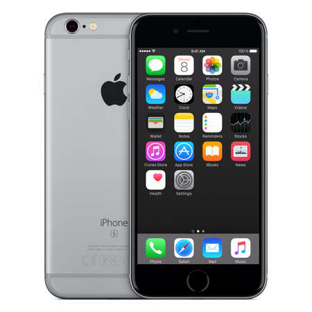 Varna, Bulgaria - October 24, 2015: Front view of Space Gray Apple iPhone 6S with iOS 9 mobile operating system and back side with Apple Inc logo. Isolated on white.