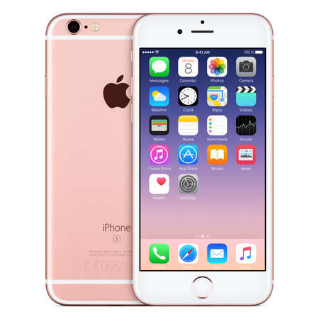 Varna, Bulgaria - October 24, 2015: Front view of Rose Gold Apple iPhone 6S with iOS 9 mobile operating system and back side with Apple Inc logo. Isolated on white.