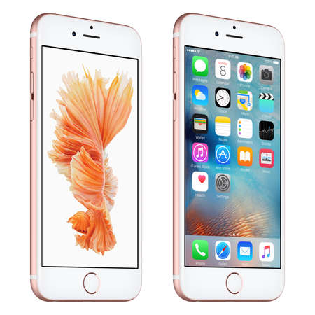 six: Varna, Bulgaria - October 24, 2015: Rose Gold Apple iPhone 6S rotated at a slight angle bottom up view with iOS 9 mobile operating system and Siamese Fighting Fish Dynamic Wallpaper on the screen. Isolated on white. Editorial