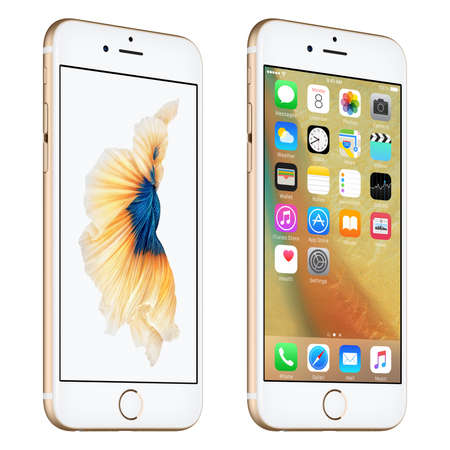 Varna, Bulgaria - October 24, 2015: Gold Apple iPhone 6S rotated at a slight angle bottom up view with iOS 9 mobile operating system and Siamese Fighting Fish Dynamic Wallpaper on the screen. Isolated on white. Editöryel