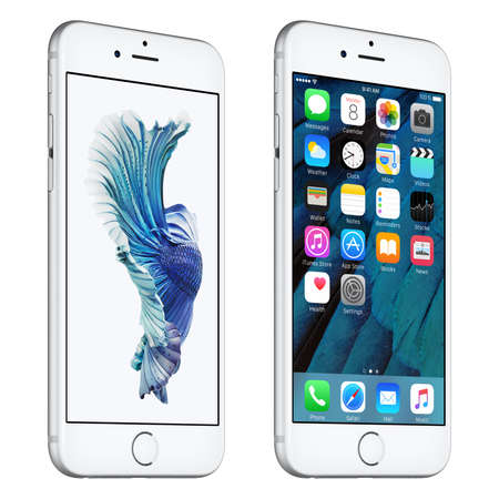 angle views: Varna, Bulgaria - October 24, 2015: Silver Apple iPhone 6S rotated at a slight angle bottom up view with iOS 9 mobile operating system and Siamese Fighting Fish Dynamic Wallpaper on the screen. Isolated on white. Editorial