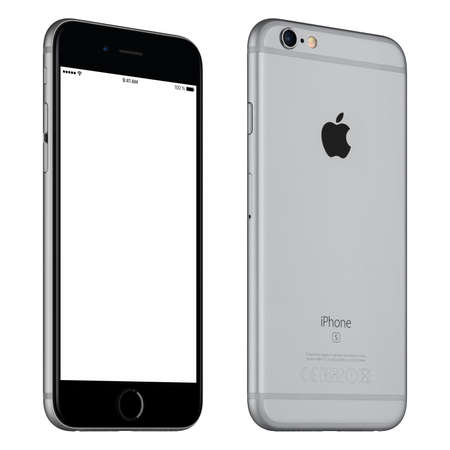 front angle: Varna, Bulgaria - October 24, 2015: Front view of Space Gray Apple iPhone 6S mockup slightly rotated with white screen and back side with Apple Inc logo. Isolated on white. Editorial