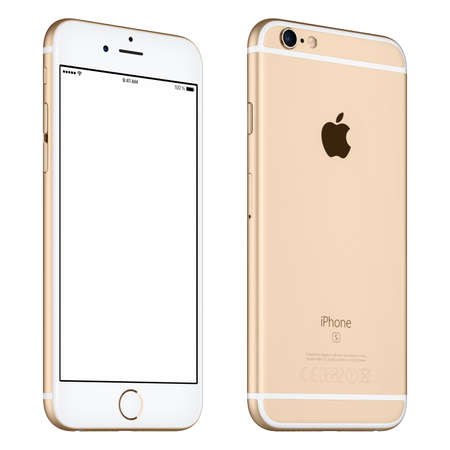 Varna, Bulgaria - October 24, 2015: Front view of Gold Apple iPhone 6S mockup slightly rotated with white screen and back side with Apple Inc logo. Isolated on white.