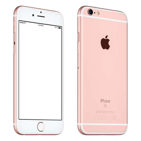 angle: Varna, Bulgaria - October 24, 2015: Front view of Rose Gold Apple iPhone 6S mockup slightly rotated with white screen and back side with Apple Inc logo. Isolated on white.