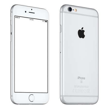 mockup: Varna, Bulgaria - October 24, 2015: Front view of Silver Apple iPhone 6S mockup slightly rotated with white screen and back side with Apple Inc logo. Isolated on white. Editorial