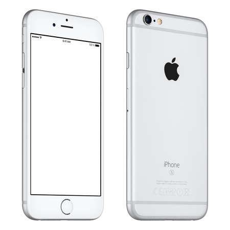 Varna, Bulgarije - 24 oktober 2015: Het vooraanzicht van Silver Apple iPhone 6S mockup enigszins gedraaid met het witte scherm en achterzijde met Apple Inc logo. Geïsoleerd op wit.