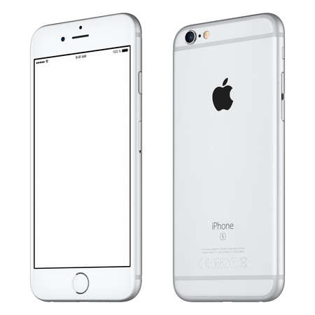 front angle: Varna, Bulgaria - October 24, 2015: Front view of Silver Apple iPhone 6S mockup slightly clockwise rotated with white screen and back side of the Apple smartphone. Isolated on white. Editorial