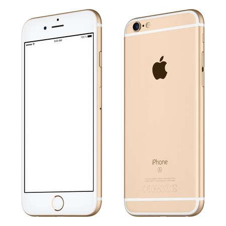 シルバー アップル iPhone 6 s モックアップ アップル Inc のロゴが表面、裏面と白い画面でわずかに回転のヴァルナ, ブルガリア - 2015 年 10 月 24 日: フ