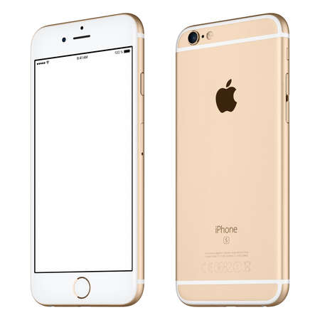 Varna, Bulgaria - October 24, 2015: Front view of Silver Apple iPhone 6S mockup slightly rotated with white screen and back side with Apple Inc logo. Isolated on white. Editoriali