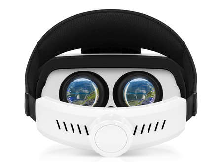 ideally: Back view of VR virtual reality headset with turns on displays. VR is an immersive experience in which your head movements are tracked in 3d world, making it ideally suited to games and movies.