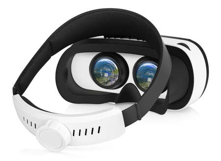 Half turned back view of VR virtual reality headset with switched-on displays. VR is an immersive experience in which your head movements are tracked in 3d world, VR is the future of gaming.