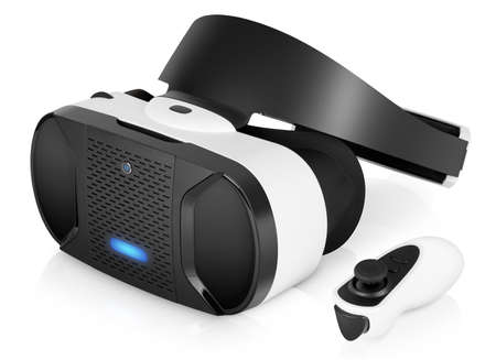 VR virtual reality headset half turned with game controller isolated on white background. VR is the future of gaming that gives players a new awesome experience.