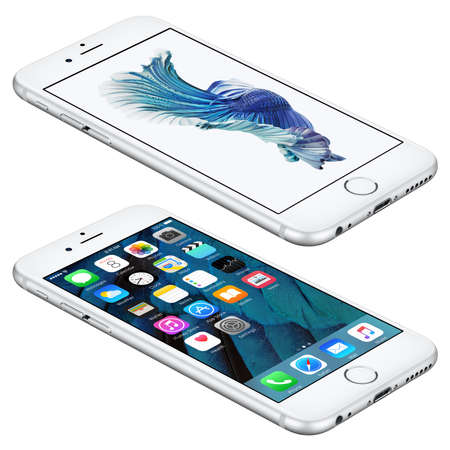 angle: Varna, Bulgaria - October 25, 2015: Silver Apple iPhone 6S lies on the surface with iOS 9 mobile operating system and Siamese Fighting Fish Dynamic Wallpaper on the screen. Isolated on white. Editorial