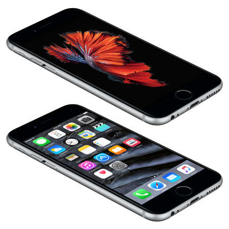 front angle: Varna, Bulgaria - October 25, 2015: Space Gray Apple iPhone 6S lies on the surface with iOS 9 mobile operating system and Siamese Fighting Fish Dynamic Wallpaper on the screen. Isolated on white. Editorial