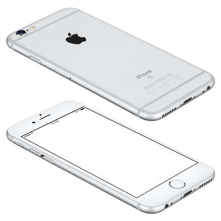 angle views: Varna, Bulgaria - October 25, 2015: Silver Apple iPhone 6s mockup lies on the surface with white screen and back side with Apple Inc logo. Isolated on white.