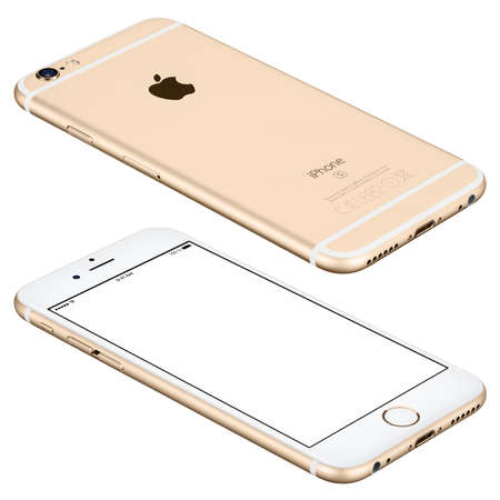 angle: Varna, Bulgaria - October 25, 2015: Gold Apple iPhone 6s mockup lies on the surface with white screen and back side with Apple Inc logo. Isolated on white.