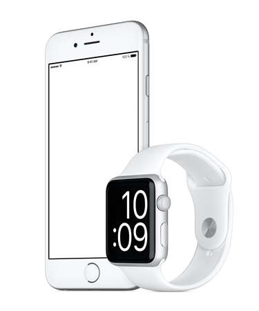 rotated: Varna, Bulgaria - October 24, 2015: Slightly rotated Silver Apple iPhone 6s with white screen and Silver Apple Watch Sport mockup. Isolated on white.