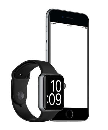rotated: Varna, Bulgaria - October 24, 2015: Slightly rotated Space Gray Apple iPhone 6s with white screen and Space Gray Apple Watch Sport mockup. Isolated on white. Editorial
