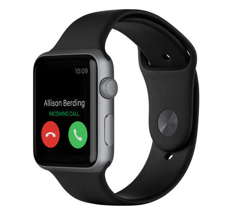 Varna, Bulgaria - October 16, 2015: Side view of Apple Watch Sport 42mm Space Gray Aluminum Case with Black Sport Band with incoming phone call on the display. Isolated on white background.