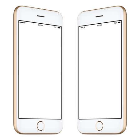 Smartphone. Deze smartphone mockup omvat beide zijden van enigszins gedraaide gouden smartphone met een leeg sjabloon scherm. U kunt deze mockup gebruiken voor het portfolio of ontwerp presentatie of advertentiecampagne.