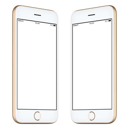 both sides: Smartphone. This smartphone mockup includes both sides of slightly rotated gold smartphone with blank template screen. You can use this mockup for portfolio or design presentation or ad campaign. Stock Photo