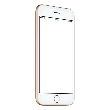 mobile phone screen: Gold mobile smartphone mock-up slightly counterclockwise rotated with blank screen isolated on white background. You can use this smart phone mockup for your web-project or UI-design presentation.