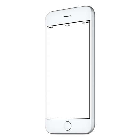 White mobile smart phone mockup slightly clockwise rotated with blank screen isolated on white background. You can use this mock-up for portfolio or UI design presentation or ad campaign. Archivio Fotografico