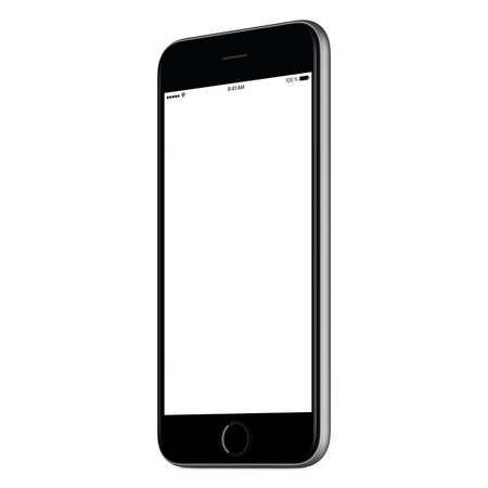 Black mobile smartphone mock up slightly clockwise rotated with blank screen isolated on white background. You can use this smartphone mockup for portfolio or design presentation or ad campaign.