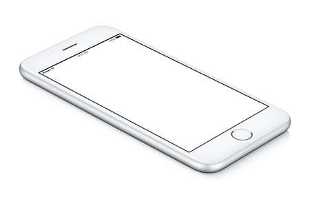 La maqueta móvil blanca del smartphone giró a la izquierda mentiras en la superficie con la pantalla en blanco Foto de archivo - 73358405
