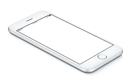 White mobile smartphone mockup counterclockwise rotated lies on the surface with blank screen Stock Photo
