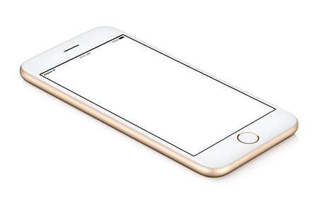 Gold mobile smart phone mock up counterclockwise rotated lies on the surface with blank screen